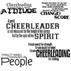 "We train harder than most of you think we do. Our practices make us stronger. We condition like crazy. We lift actual people, into the air. Cheer is a sport. If you say it's not, try competitive cheerleading. It's more than just having spirit or saying ""go team."" I can promise you, you will be dead tired after practicing with us"