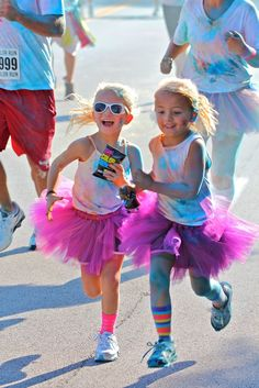 Little color run participants- too cute.  Hope to see some kids this cute at Gnarly Neon