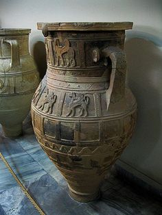 Carved amphora vessel  with griffins.  Heraklion Archaeological Museum, Crete:
