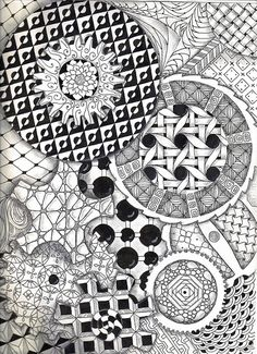 Gears Zentangle by Radiant Sketch Works Tangle Doodle, Tangle Art, Zen Doodle, Doodle Art, Zentangle Drawings, Doodles Zentangles, Doodle Drawings, Pencil Drawings, Doodle Patterns