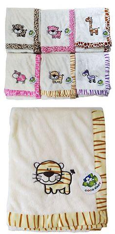 Flush Beige 2 ply PV Unisex Baby Blanket, Embroidery Tiger Design