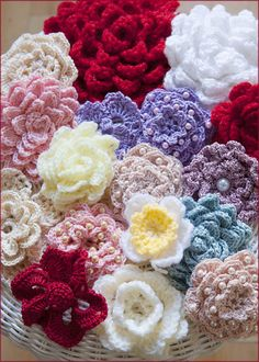 A garden of crocheted flowers