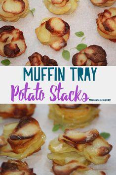 Potato Stacks in a Muffin Tin - PaintSewGlueChew Easy Potato Recipes, Side Dish Recipes, Easy Dinner Recipes, Dessert Recipes, Side Dishes, My Favorite Food, Favorite Recipes, Potato Sides, Chef
