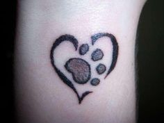 Heart Paw Tattoo Designs for Girls