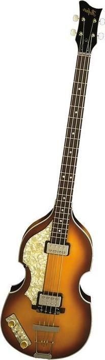 The Hofner Violin Bass is closely associated with the Beatles and Sir Paul McCartney in particular. The Hofner was actually a copy of a Gibson bass. This is one of those rare occasions when the copy superceeded the original. Look closely! This bass is strung lefty!