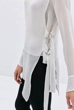 Classícally Chíc - chiffon blouses for women, sleeveless white blouse button front, long sleeve blouse *ad Classic White Shirt, White Sleeveless Blouse, Grey Blouse, Sheer Blouse, Fashion Details, Fashion Design, Style Fashion, Personalized T Shirts, Trends 2018