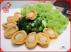Chinese New Year Abalone Recipe, Vegetable Flowers Art