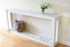 Make this super easy DIY Sofa Table (using just 1x3s and 1x4s, nails and wood glue) and get the perfect farmhouse style with a white chalk paint finish.