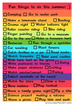 Fun things to do this summer :)