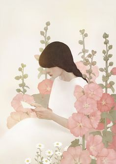Jiwoon Pak - Girl with hollyhocks 2015