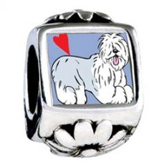 Old English Sheepdog Animal Photo Flower Charms  Fit pandora,trollbeads,chamilia,biagi,soufeel and any customized bracelet/necklaces. #Jewelry #Fashion #Silver# handcraft #DIY #Accessory
