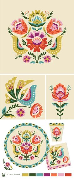 Balloon Illustration, Pattern Illustration, Folk Art Flowers, Flower Art, Doodle Books, Scandinavian Pattern, Polish Folk Art, Hand Painted Ornaments, Flower Patterns