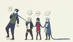 Team Konohamaru, Boruto, Sarada, Mitsuki, scarf, funny, cute; Naruto