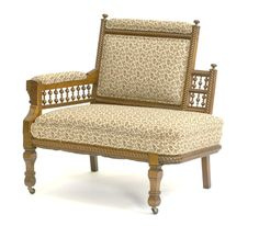 Walnut Victorian   petite chaise   with stick & ball.