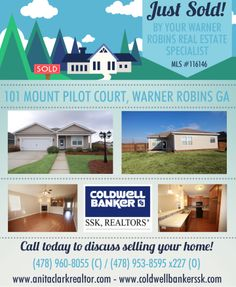 Just SOLD this 3 Bdrm/2 Bath home in Mayberry Subdivision at 101 Mount Pilot Court, Warner Robins GA 31088 (MLS # 116146).