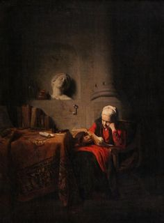 Old Woman in Red Reading, Cornelis Bisschop < WRiA