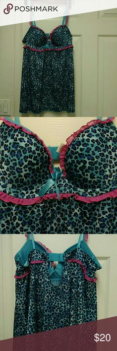Rampage animal print intimates large adjustable C Rampage intimates adjustable bra its about C small D cup from 32-38 it has the back clip if u need to bring in or bring more out stretch not sheer or see threw polyester spandex blue n hit oink set baby doll super cute! Bra had padding underside size Large  worn maybe once for photo shoot washed and hung up no rips tares or stains Rampage Intimates & Sleepwear Chemises & Slips
