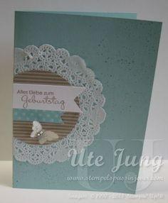 Geburtstagskarte mit Spitzendeckchen