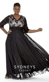 Plus Size Lace Formal 3/4 sleeves  (SC4018)