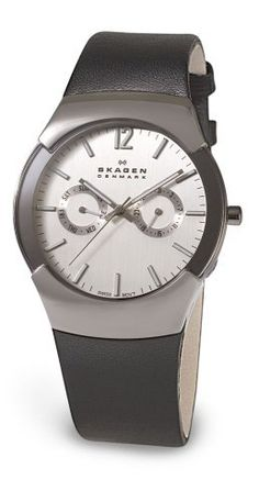 Skagen Men's 583XLSLC Swiss Multi-Function Black Leather Watch Skagen. $131.89. Water-resistant to 99 feet (30 M). Swiss-made movement. Stainless-steel case; Silver dial; Day function. Case diameter: 38 mm. Mineral crystal. Save 46% Off!