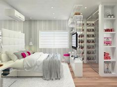Bedroom Closet Design, Girl Bedroom Designs, Bedroom Decor, Dream Rooms, Dream Bedroom, Luxurious Bedrooms, New Room, House Rooms, Girl Room