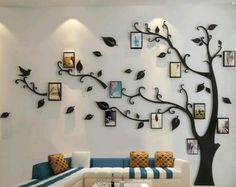Discover thousands of images about Family tree wall decal with frames. Family Tree Wall Decal, Tree Wall Art, Family Wall, Tree Wall Decals, Wall Mural, Vinyl Decals, Family Pictures On Wall, Wall Photos, Family Tree Photo