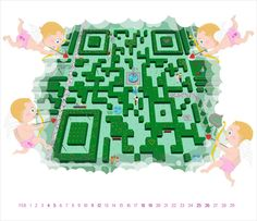 Beautiful Qr Code illustrations, Calendar, Love Valentines day, Cupid, Labyrinth, Garden
