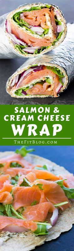 This Smoked Salmon and Cream Cheese Wrap is a delicious and healthy take on an iconic breakfast/brunch recipe. The perfect way to start the day high protein low carb sugar free gluten free diabetes friendly via Lunch Recipes, Seafood Recipes, Low Carb Recipes, Breakfast Recipes, Cooking Recipes, Healthy Recipes, Breakfast Ideas, Brunch Ideas, Breakfast Quiche