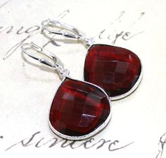 Red Garnet Teardrop Earrings  Genuine by BeadedTreasurebySue  ok i so want these to match my tiara let s see if i can get them in time