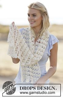"Mary Jo - Crochet DROPS stole with lace pattern in ""Cotton Light"". - Free pattern by DROPS Design"