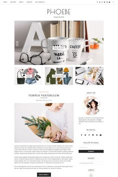 Blogger Template Responsive - Phoebe by Georgia Lou Studios on @creativemarket