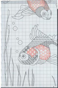 blackwork goldfish bottom right Blackwork Cross Stitch, Blackwork Embroidery, Cross Stitch Needles, Cross Stitch Charts, Cross Stitching, Cross Stitch Embroidery, Embroidery Patterns, Hand Embroidery, Cross Stitch Patterns