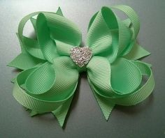 NEW Mint Green Stacked Boutique Hair Bow with by GhinesCreations, $4.99
