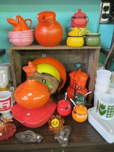 DIY: Retro Kitchen Decor. I have that same orange Fiestaware decanter in bright yellow!!! LOVE it!