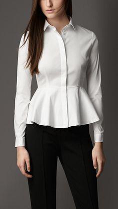 Burberry London Peplum Detail Cotton Blend Shirt
