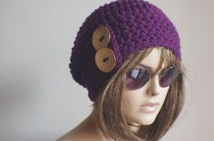Womens hat  chunky knit Slouchy purple  Beanie Slouch by yagmurhat