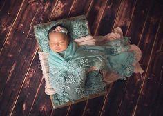 WRAP PHOTO PROP 18 x 72 gray aqua lace von babyportraitpropshop