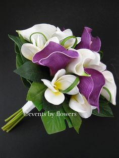 A hand-tied bouquet of white roses, purple Peruvian Lilies and bi-colored white and purple mini calla lilies are accented by lush greens and wrapped in exotic foliage. Description from pinterest.com. I searched for this on bing.com/images