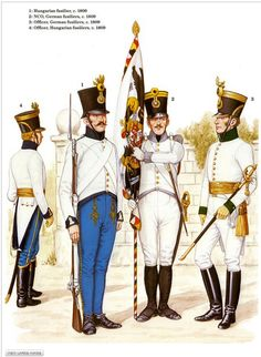 Austrian; Infantry 1809 L To R Hungarian Line Regt Officer & Fusilier & German Line Regt NCO & Officer