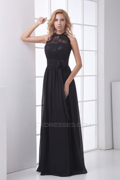 $129.99,Long Black Lace Bridesmaid Dresses,Elegant Floor-Length Chiffon Lace Long Black Prom/Formal Evening Bridesmaid…