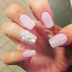 Pretty Nails, Pink, Glitter Nails, Sequin, Sparkly, Nail art, Nail Design, Cute