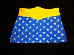 Wonder Woman Skirt - Baby Toddler Child Blue Fabric White Star Print Halloween Dress Up Everyday Birthday Comic Con