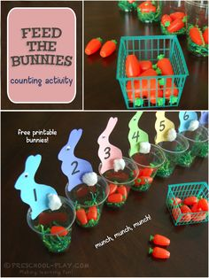 Feed The Bunnies Counting Activity Feed the Bunnies Activity – This colorful teaching tool attracts the children's attention, and increases number sense (counting, number recognition, etc. April Preschool, Preschool Math Games, Eyfs Activities, Easter Activities For Kids, Numbers Preschool, Spring Activities, Kindergarten Activities, Toddler Activities, Preschool Activities