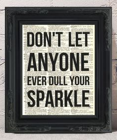 Look at this #zulilyfind! 'Don't Let Anyone Ever Dull Your Sparkle' Dictionary Art Print #zulilyfinds