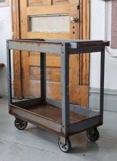 Industrial Metal Factory Cart - Bar / Serving - on Casters. $250.00, via Etsy.