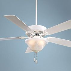 White and classic, this charming ceiling fan features a white, marbleized glass light for bright illumination. A Minka Aire ceiling fan design. Style # 72508 at Lamps Plus. French Country Lighting, White Ceiling Fan, Ceiling Fans, Minka, Unique Lighting, New Homes, Lights, Glass, Design