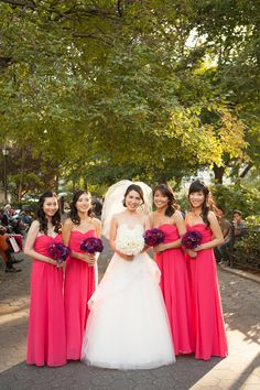 Bright #Pink #Bridesmaids Dresses by Ralph Lauren | photography by http://www.christinechangphotoblog.com/ | wedding planning by http://www.angweddingsandevents.com/ | floral design by http://byyenadesigns.com/