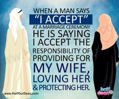 """""""When a man says """"I accept"""" at a marriage ceremony he is saying I accept the responsibility of providing for my wife, loving her and protecting her. It's called a marriage contract for a reason. Each spouse commits to fulfilling the rights of the other and to faithfully adhere to the requirements of the contract. The only difference between this contract and others is the potential for happiness, contentment and fun."""""""