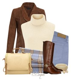 """""""Baby Blue Burberry Scarf"""" by ccroquer ❤ liked on Polyvore featuring Victoria Beckham, Étoile Isabel Marant, Burberry, The Limited, Tory Burch and Marc by Marc Jacobs"""
