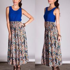 The NATASHA paisley maxi dress - ROYAL BLUE Waistline is stretchy. What a vibrant pop of color, with a fun mix for lower part of dress. ‼️NO TRADE‼️ Dresses Maxi